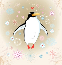 Cheerful penguin lover vector