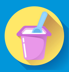 Yogurt cup with a spoon flat icon vector