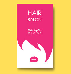 hair salon business card templates with pink hair vector image