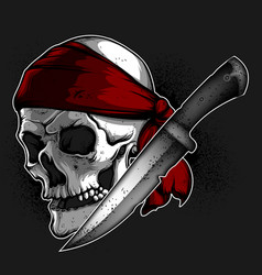 Skull of a pirate and knife vector
