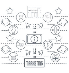 Marketing business information icons background vector