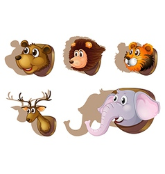 Five stuffed heads of animals vector image