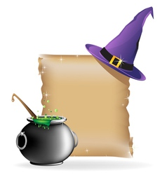 Magic hat and boiling cauldron vector