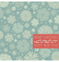 retro christmas background with snowflake vector image