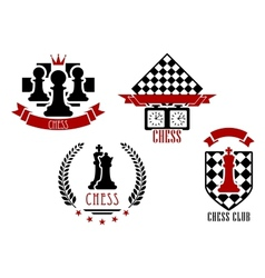 Chess game sports logos and emblems vector
