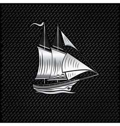 Silver sailing ship on metal background vector
