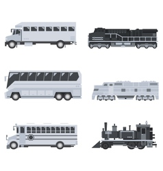 Bus truck and train set vector