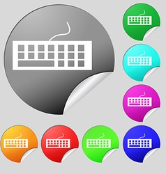 Computer keyboard icon set of eight multi colored vector