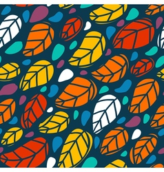 Bright seamless pattern with colorful leaves vector