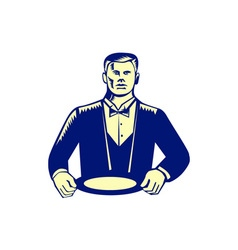 Waiter cravat serving plate woodcut vector