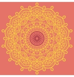 Mandala print orange vector