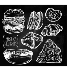 Baker shop and pastry icons set in vintage style vector