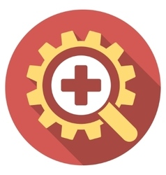 Find medical technology flat round icon with long vector