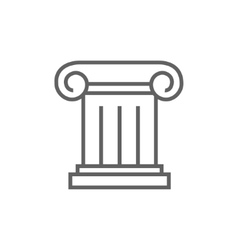 Ancient column line icon vector
