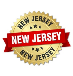 New jersey round golden badge with red ribbon vector