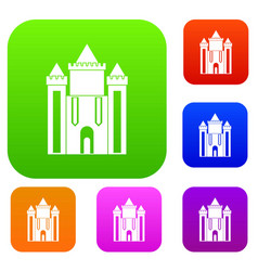 ancient fort set color collection vector image vector image