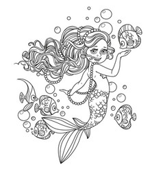 Beautiful little mermaid girl outlined isolated on vector