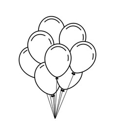Bunch of birthday balloons for party and vector