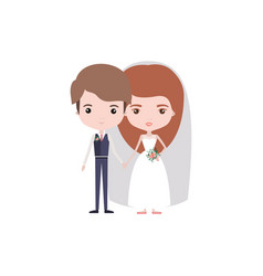 Colorful caricature newly married couple young vector