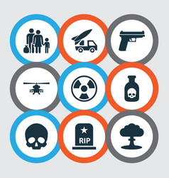 Combat icons set collection of weapons chopper vector