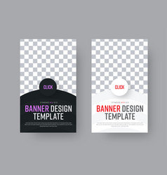 design a black and white vertical web banner with vector image vector image