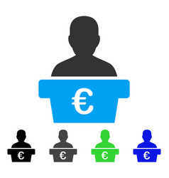 Euro politician flat icon vector