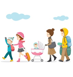 Family walking to travel vector