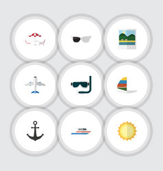 Flat icon summer set of surfing reminders boat vector