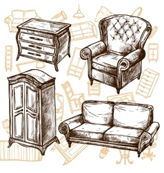 Furniture Sketch Seamless Concept vector image
