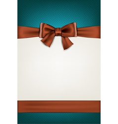 Gift card with brown bow vector image vector image
