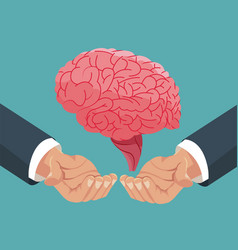 hand holding human brain organ vector image