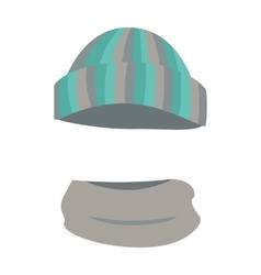 Hat woolen warm striped headwear and grey scarf vector
