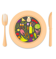 healthy food in plate vector image