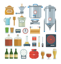 Home brewing process items vector