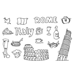 Italy doodle set vector image