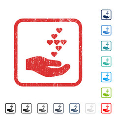 Love hearts offer hand icon rubber watermark vector