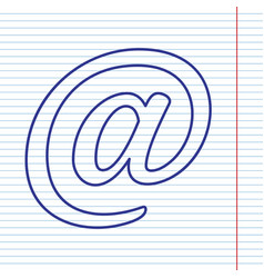 Mail sign navy line icon on vector
