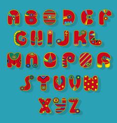 Red superhero alphabet vector