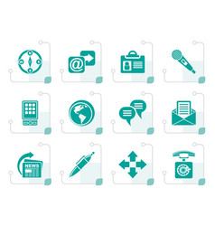 stylized business office and internet icons vector image vector image