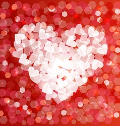 Valentines day love heart shape bokeh card vector image vector image
