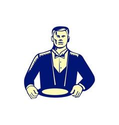 Waiter cravat serving plate woodcut vector