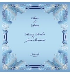 Winter frozen glass design wedding frame vector