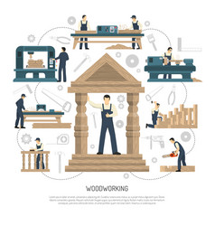 Woodworking people background composition vector