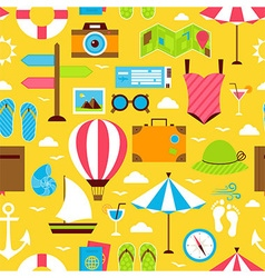 Yellow Flat Summer Travel Voyage Seamless Pattern vector image