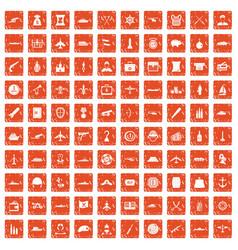 100 combat vehicles icons set grunge orange vector