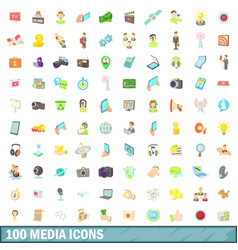 100 media icons set cartoon style vector image vector image