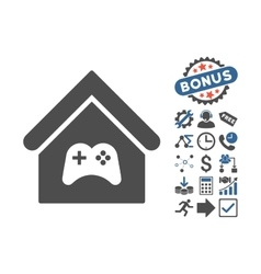 Game center building flat icon with bonus vector