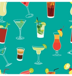 Set of famous cocktails blue seamless pattern vector image