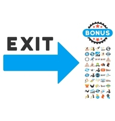 Exit arrow icon with 2017 year bonus pictograms vector