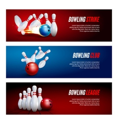Bowling banner set design Bowling strike champ vector image